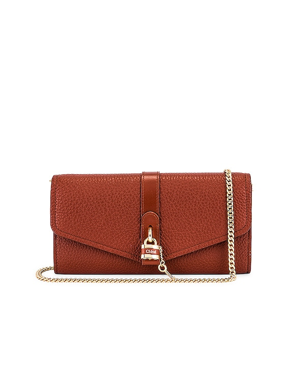 Aby Wallet on Chain Bag in Sepia Brown