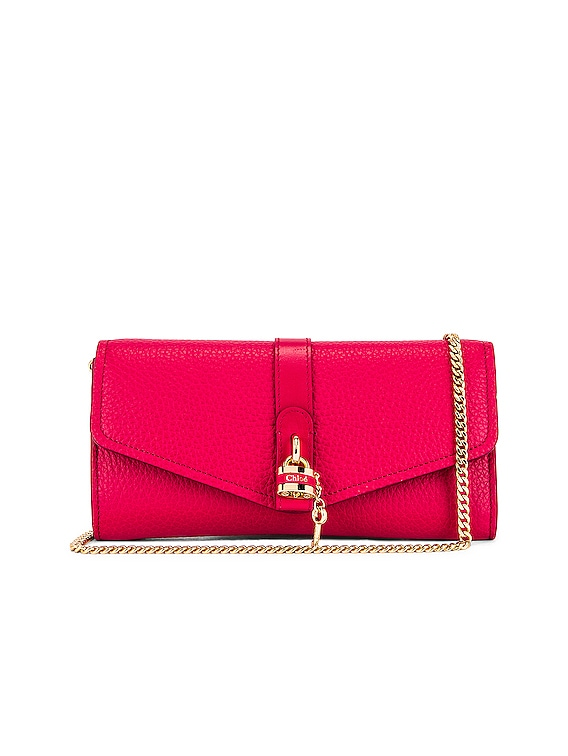 Aby Wallet on Chain Bag in Crimson Pink