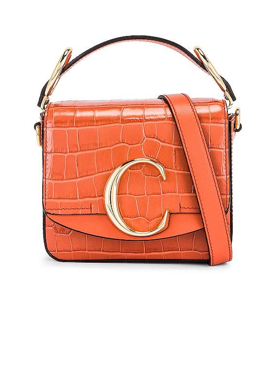 Mini C Embossed Croc Box Bag in Tawny Orange