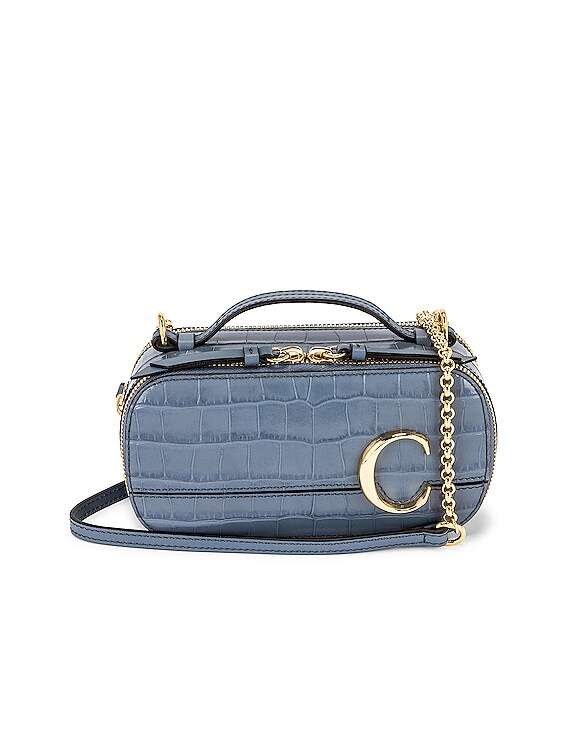 Mini C Embossed Croc Vanity Bag in Ash Blue