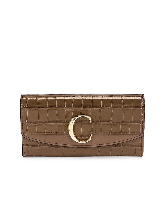 C Embossed Croc Clutch in Army Green