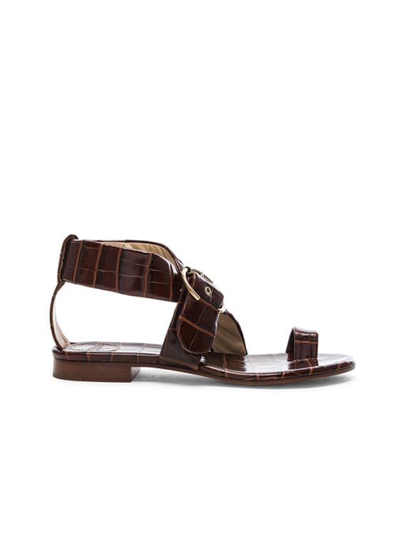 Two Strap Sandals in Hot Tan