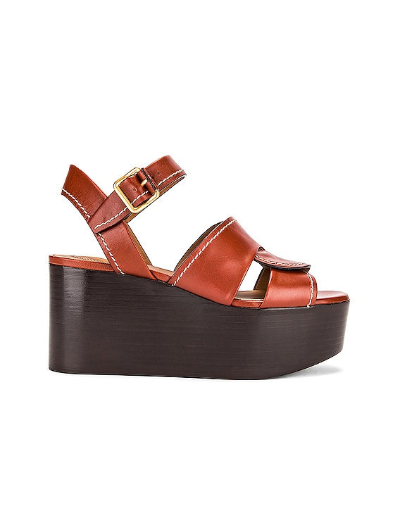 Candice Platform Sandals in Sepia Brown