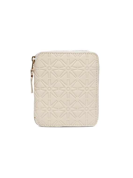 Star Embossed Zip Fold Wallet in Off White