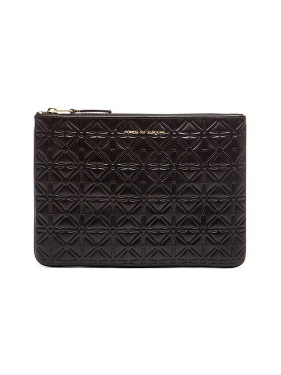 Star Embossed Pouch in Black