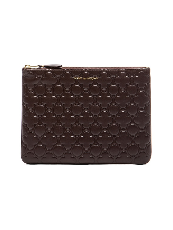 Clover Embossed Pouch in Brown