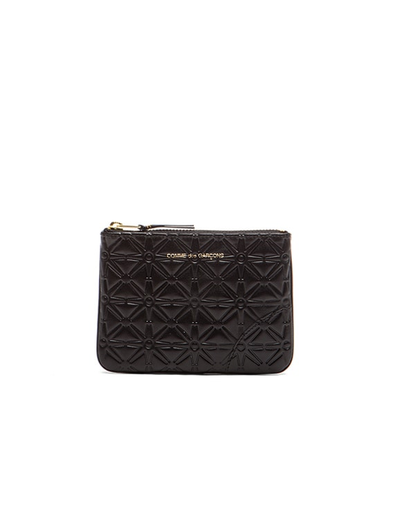 Small Star Embossed Pouch in Black