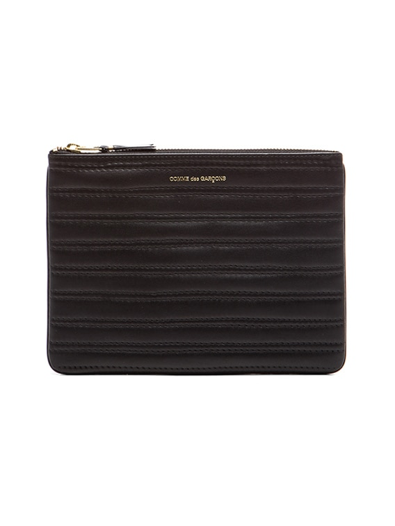 Embossed Stitch Pouch in Black
