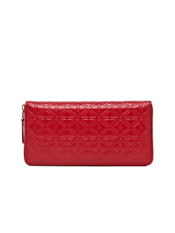 Star Embossed Long Wallet in Red