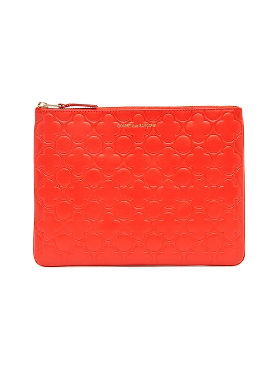 Clover Embossed Pouch in Orange