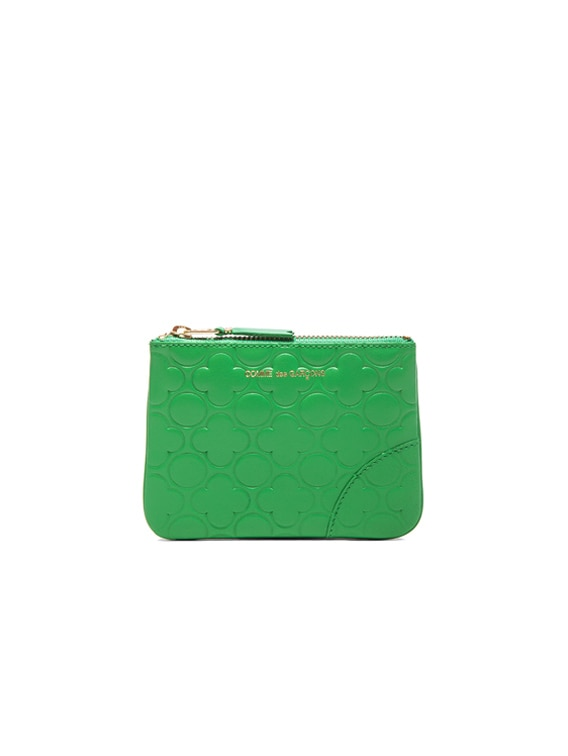 Clover Embossed Small Pouch in Green