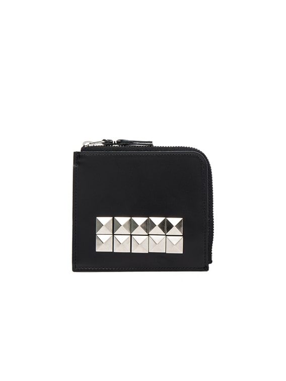 Studded Leather Zip Wallet in Black