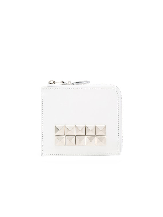 Studded Leather Zip Wallet in White