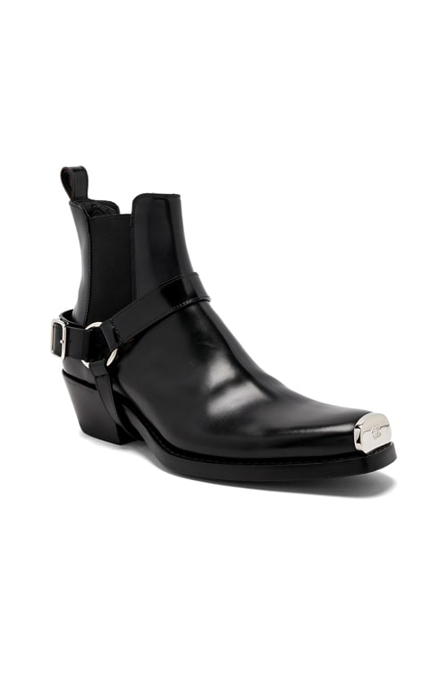 Leather Western Harness Boots in Black