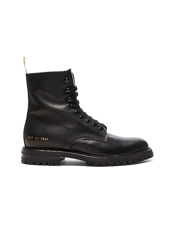 Leather Winter Combat Boots in Black
