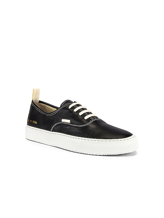 Four Hole in Leather Low Sneaker in Black & White