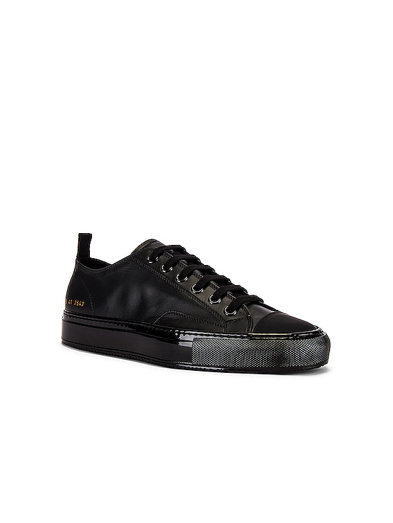 Tournament Low Leather Shiny Sneaker in Black & Black