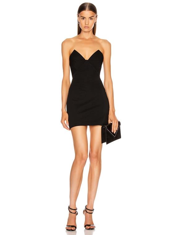 Strapless Bustier Mini Dress in Black
