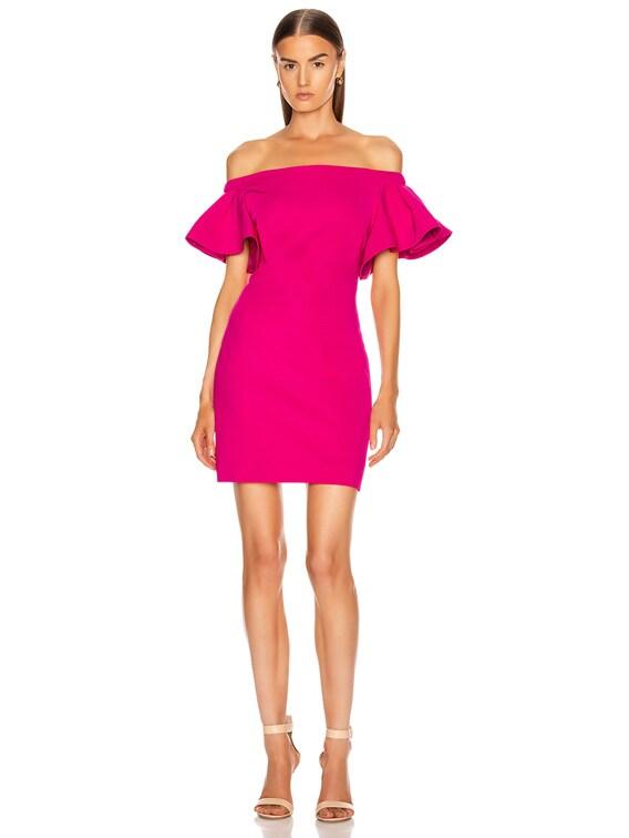 Off the Shoulder Mini Dress in Azalea