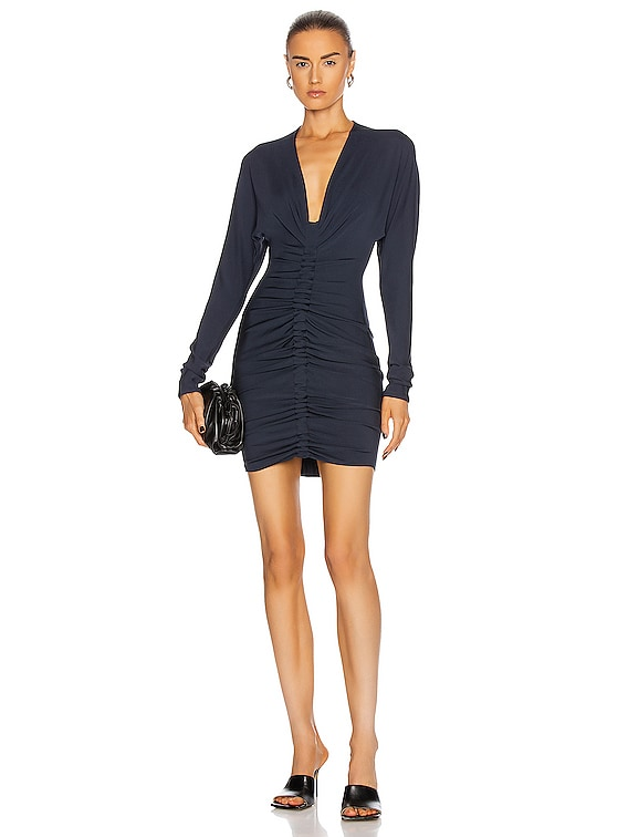 Ruched Long Sleeve Plunging Mini Dress in Navy