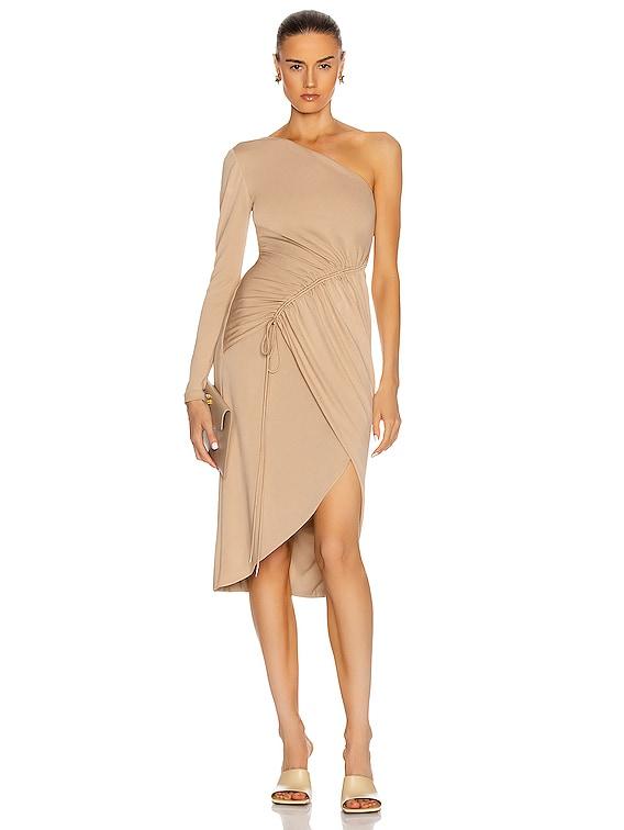 One Shoulder Long Sleeve Pencil Dress in Latte