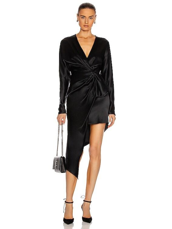 Asymmetric Long Sleeve V Neck Dress in Black