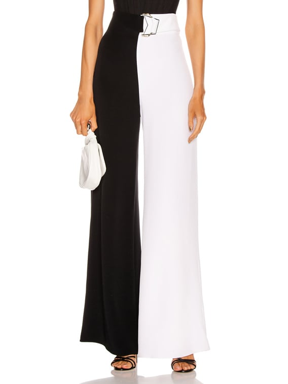 High Waisted Wide Leg Pant in Black & White
