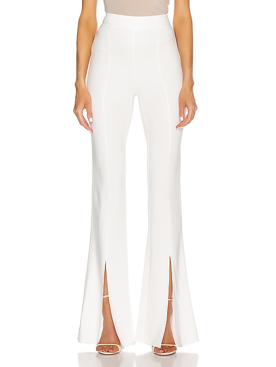 High Waisted Slim Flare Pant in White