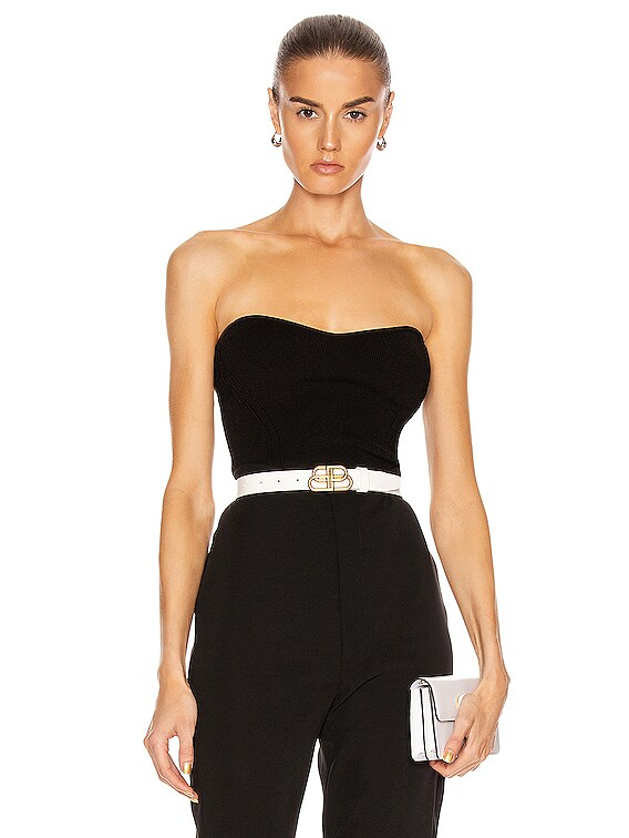 Strapless Fitted Knit Top in Black