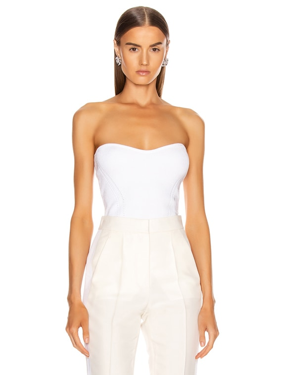 Strapless Fitted Knit Top in White