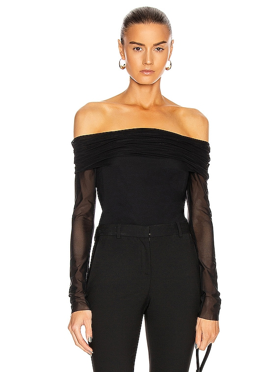 Off the Shoulder Fitted Top in Black