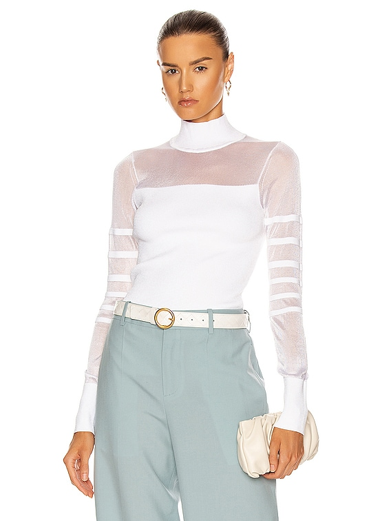 Mock Neck Knit Top in White