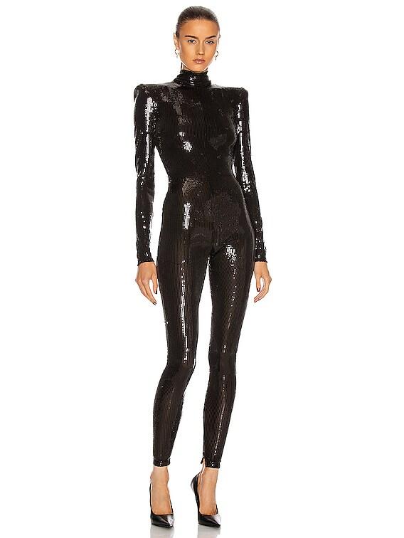 Sequin Catsuit in Black