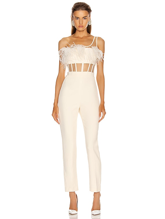 One Strap Feather Corset Jumpsuit in Ivory