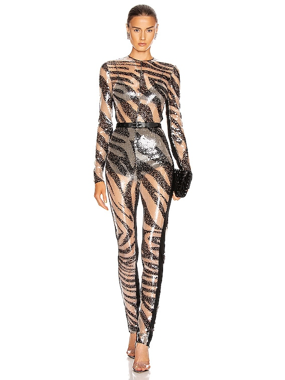 Sequined Jumpsuit in Nude & Print
