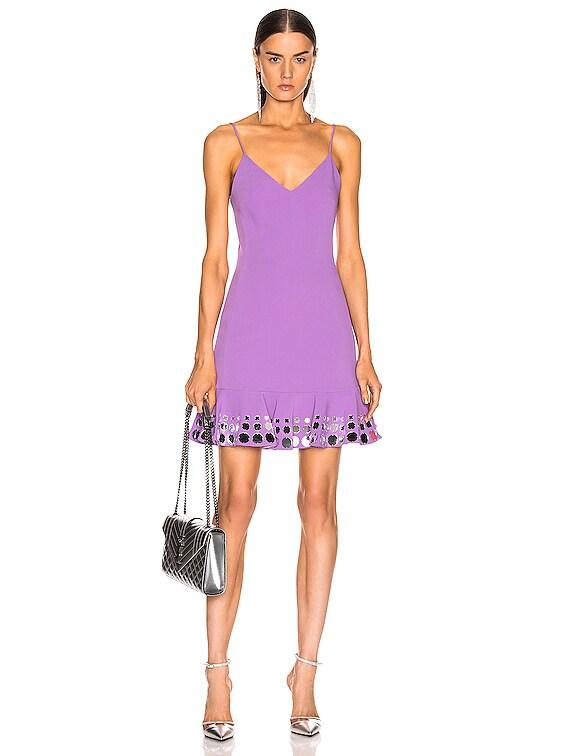 Circle Embellished Ruffle Mini Dress in Lavender & Silver