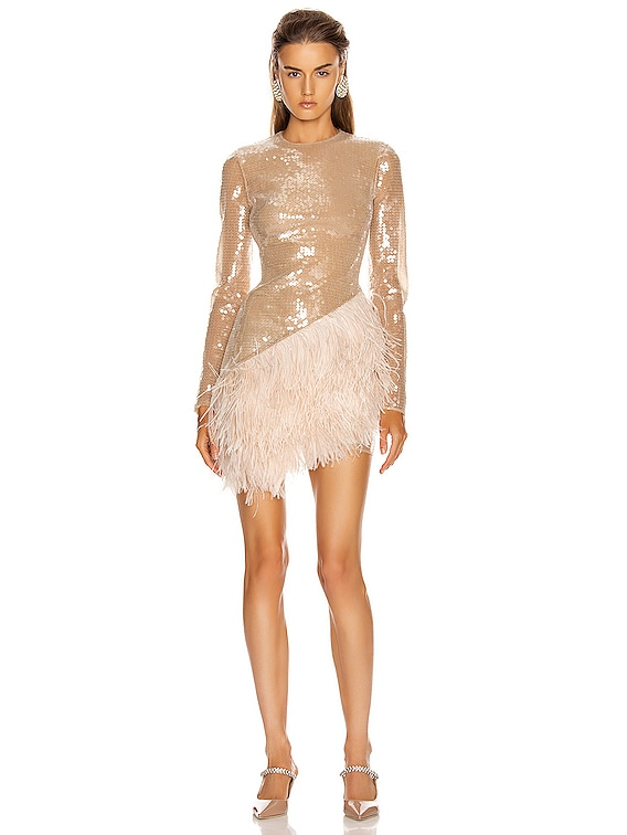 Feather Trim Sequin Long Sleeve Dress in Beige