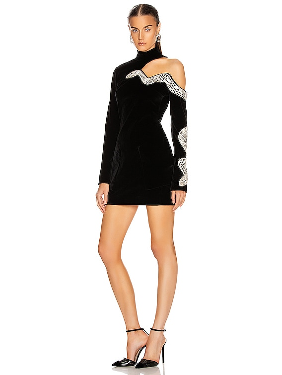 Snake Embroidered Mini Dress in Black & Silver