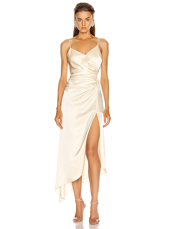Asymmetric Ruched Cami Dress in Ivory