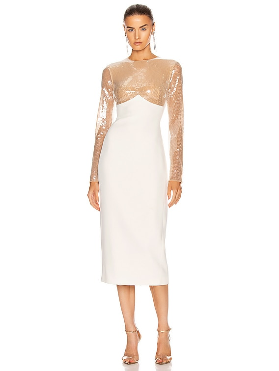 Sequin Empire Long Sleeve Midi Dress in Beige & White