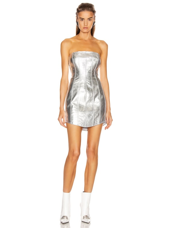 Corset Leather Strapless Dress in Silver