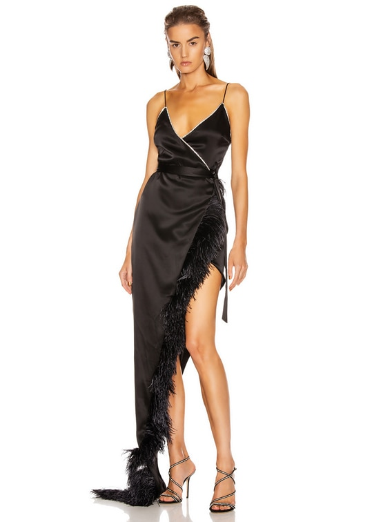 Crystal & Feather Asymmetric Wrap Gown in Black