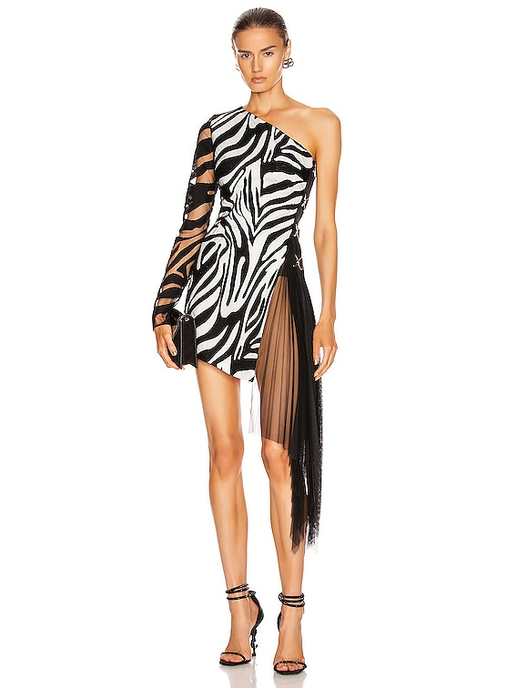 Zebra Macrame and Tulle One Shoulder Dress in White & Black