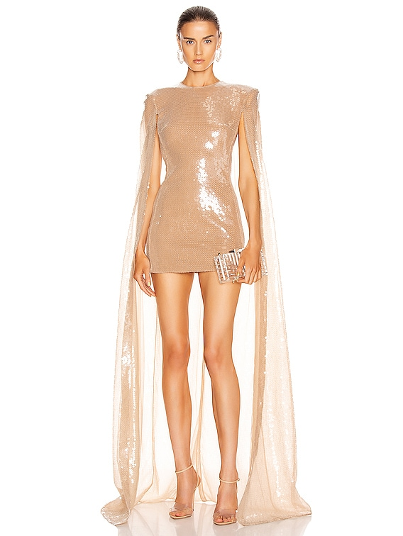 Sequin Long Cape Mini Dress in Nude