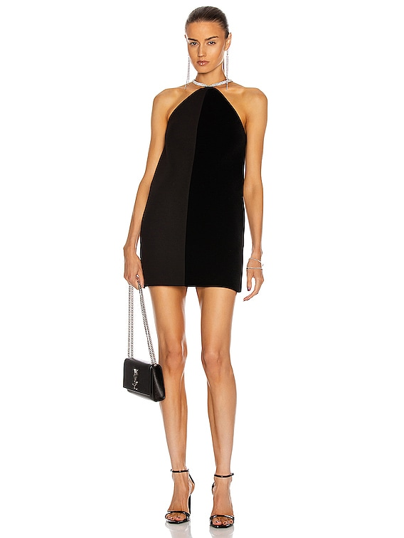 Crystal Chain Halter Neck Shift Dress in Black & Silver