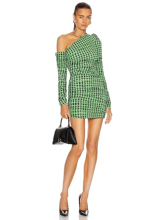 Hounstooth Asymmetric Shoulder Long Sleeve Dress in Green & Black
