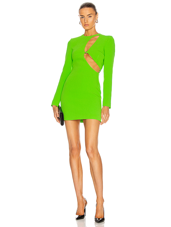 Asymmetric Cutout Mini Dress in Neon Green