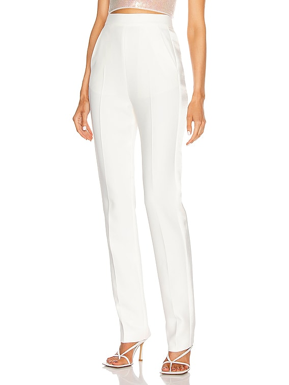Satin Side Panel Slim Trouser in White