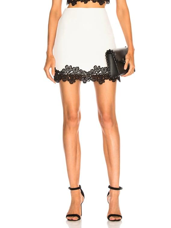 Lace Trim Mini Skirt in White & Black