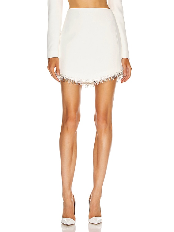 Crystal Chain Mini Skirt in White & Silver
